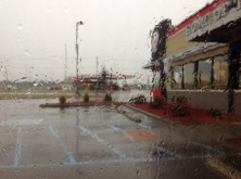 A Rainy day outside Burger King