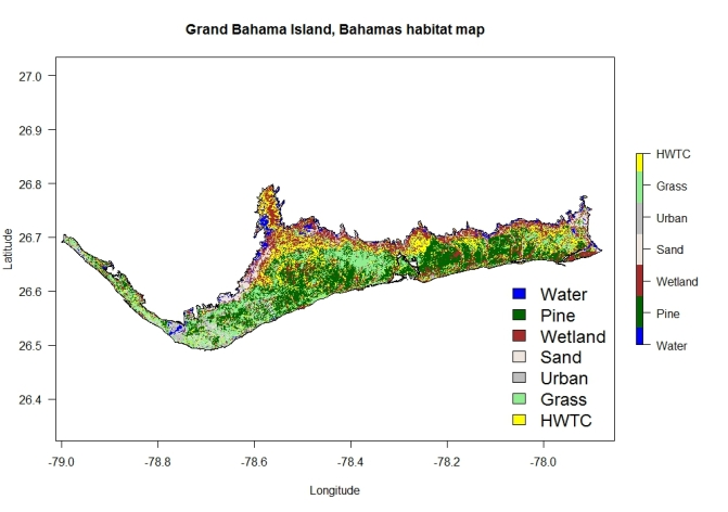 Grand Bahama Island Contiguous area habitat map with legend and axes.jpeg