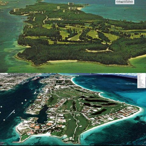 Image showing Paradise Island Bahamas aerial views from the East. The  upper image shows Paradise island in the 1970s mostly covered in vegetation with a large golf course on the eastern end. The Lower image show Significant urbanization and development including marinas and hotels that now cover more than 70% of the island.