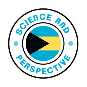 "Science and Perspective Logo. a cirle with the words ""Science and Perspective around a smaller circle that includes a Black triangle pointing toward three horizontal bars of blue yellow and blue"